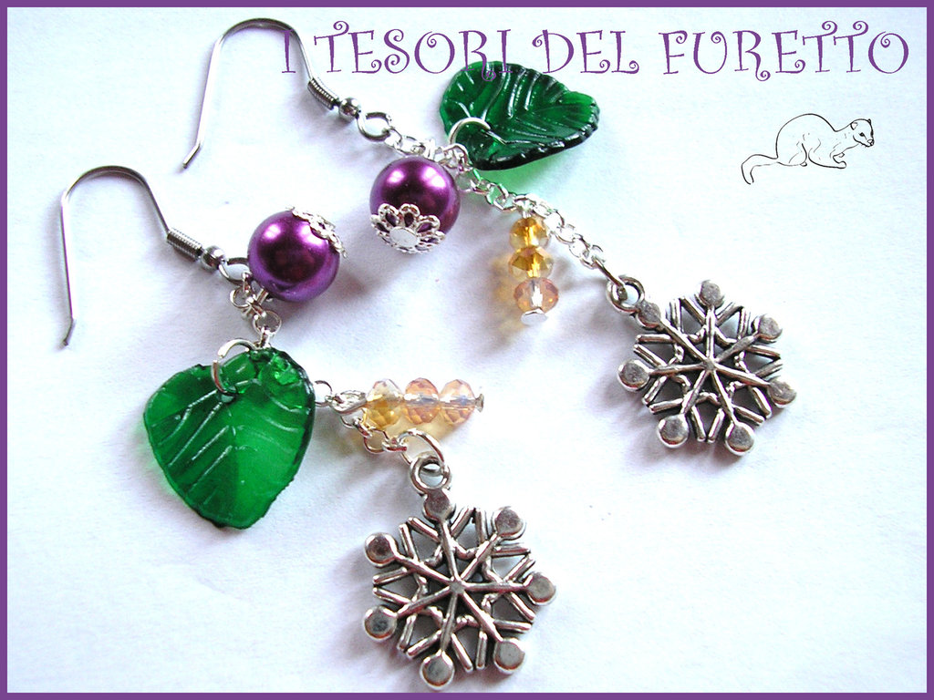 """Orecchini Natale """"Fiocchi di neve viola oro"""" perle charm idea regalo per lei ecomomica bijoux natalizi"""