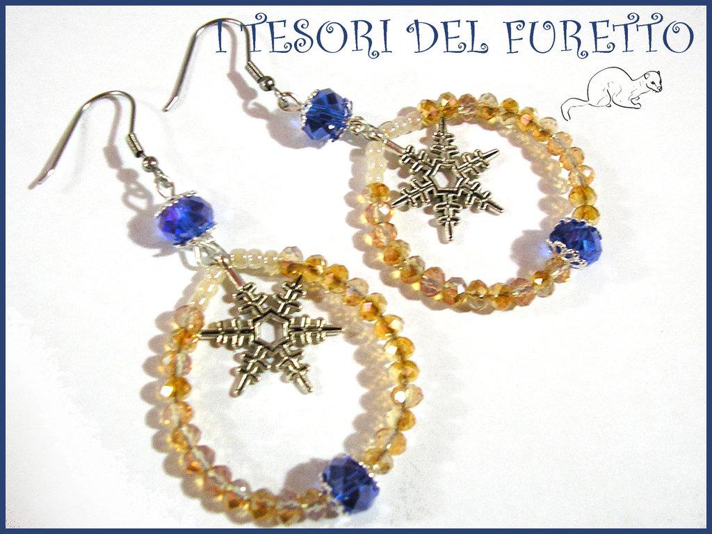 """Orecchini Natale """"Fiocchi di neve blu oro """" perle charm idea regalo per lei bijoux natalizi"""