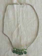 Collana acciaio pietre dure verde smeraldo e filo acciai colorato