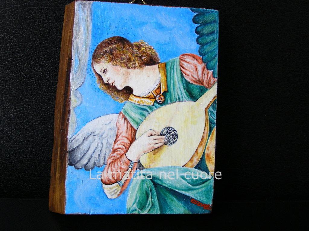 "Miniatura dipinta su legno""Angelo con liuto""Melozzo da Forlì"