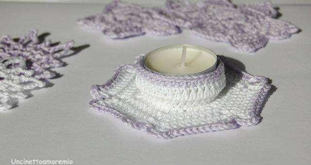Portacandelina ad uncinetto in bianco e lilla