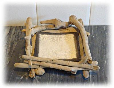 """Porta sapone con legni di mare e raku collezione """"ARTE DOMESTICA"""""""