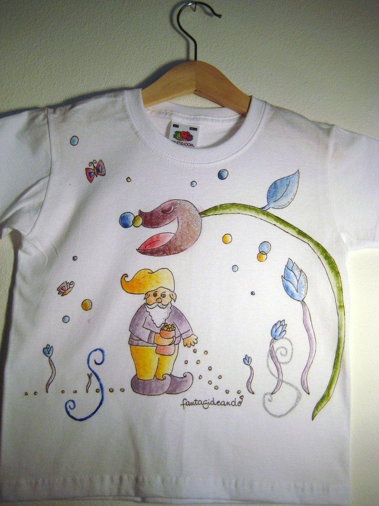 "t-shirt manica corta cotone ""ortobello"" dipinta a mano"