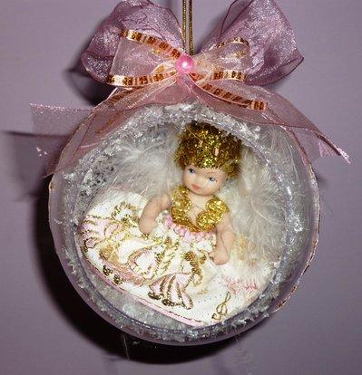 Palla Sfera Natale Angelo Realizzata a Mano Rosa Neve