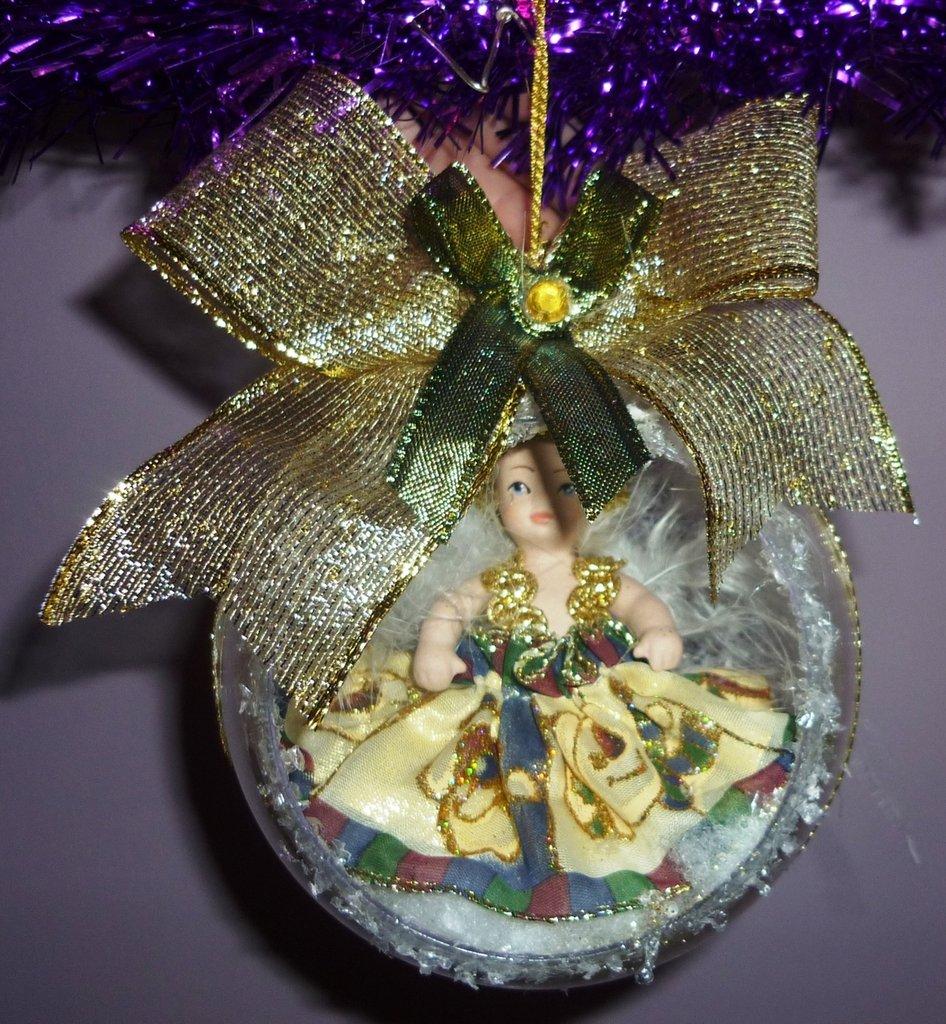 Palla Sfera Natale Angelo Realizzata a Mano Neve/Oro