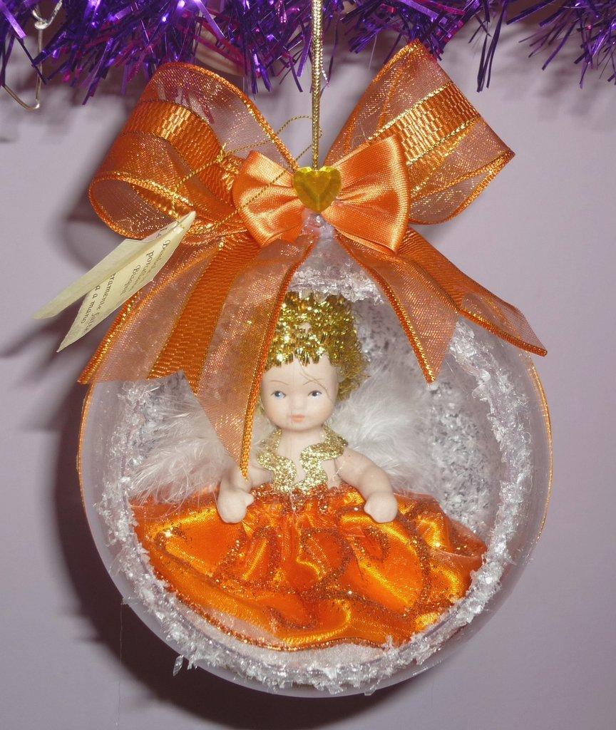 Palla Sfera Natale Angelo Realizzata a Mano Arancione