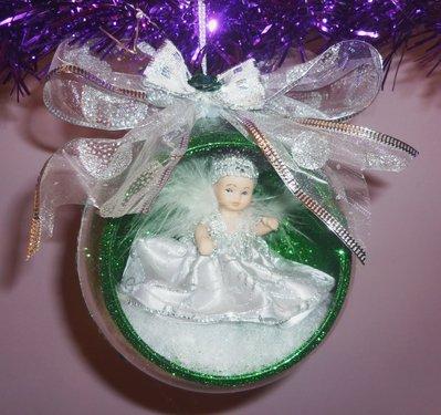 Palla Sfera Natale Angelo Realizzata a Mano Verde