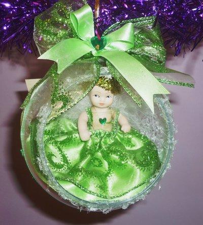 Palla Sfera Natale Angelo Realizzata a Mano Verde Chiaro