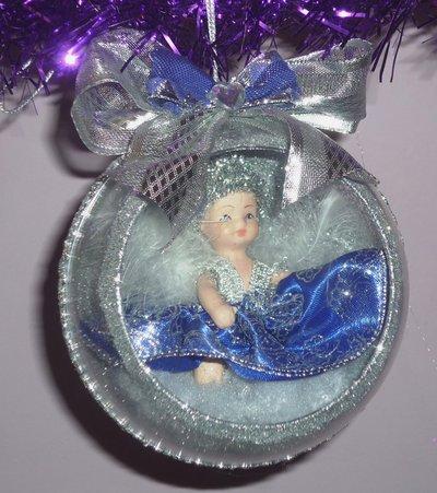 Palla Sfera Natale Angelo Realizzata a  Mano Argento/Blu