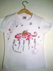 "t-shirt manica corta cotone ""dragolo"" dipinta a mano"