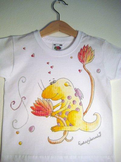 "t-shirt manica corta cotone ""tenerago"" dipinta a mano"