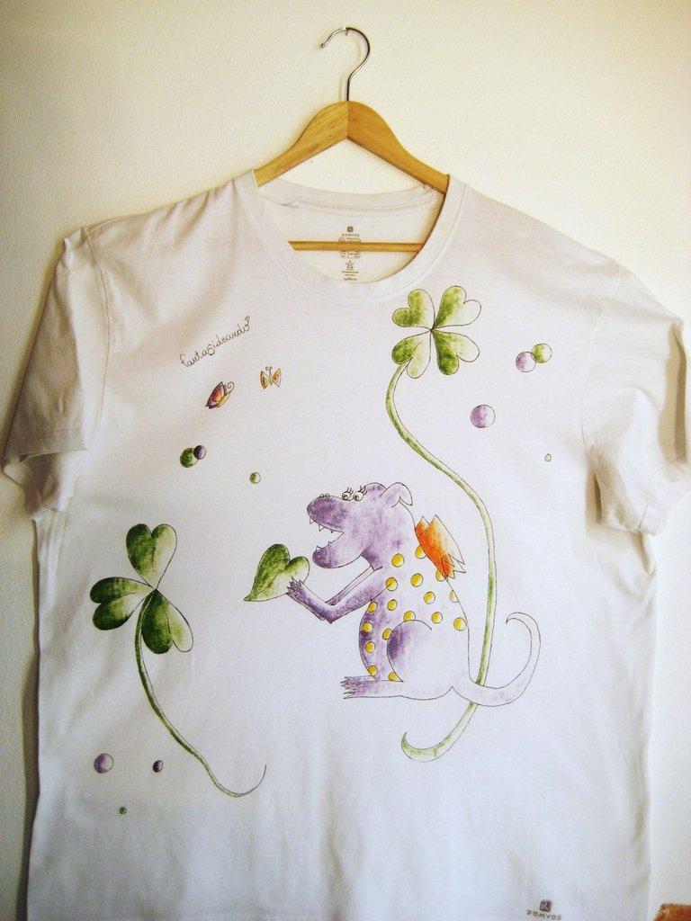 """t-shirt manica corta cotone """"dragolosa"""" dipinta a mano"""