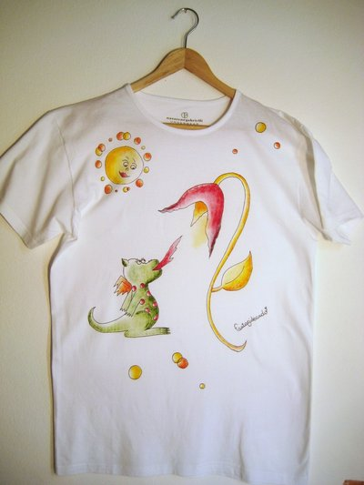 "t-shirt manica corta cotone ""cenerino"" dipinta a mano"