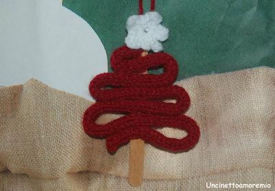Decorazioni Natale: albero addobbo ad uncinetto e tricotin con punto luce