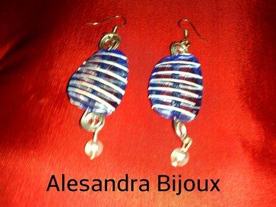 Orecchini azzurri wire
