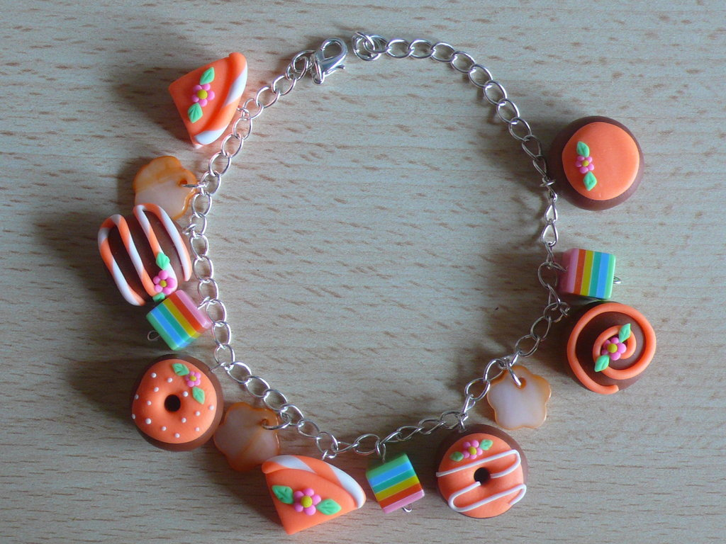 braccialetto arancione in fimo