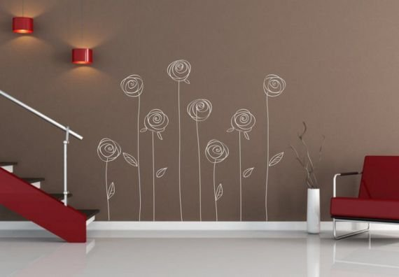 Adesivo per le pareti Rose (084n)