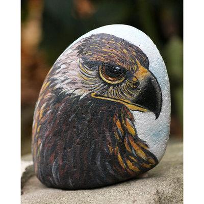 pietra di fiume dipinta con colori acrilici raffigurante un falco