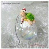 Pallina sfera addobbo natale tartarughina nella neve- Albero di Natale