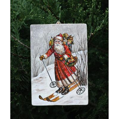 quadretto in legno   raffigurante  con colori acrilici una riproduzione antica di Babbo Natale