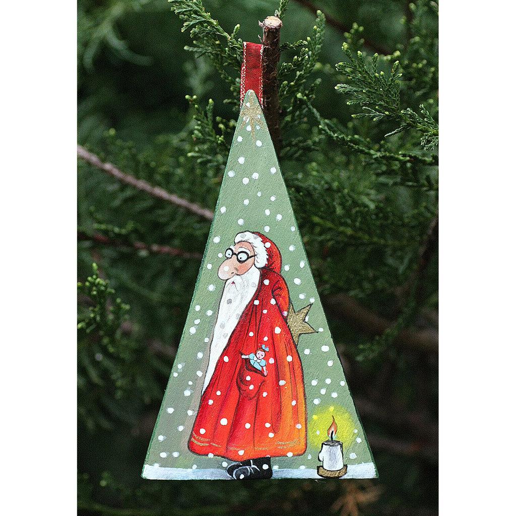 quadretto in compensato dipinto con colori acrilici  raffigurante un babbo Natale umoristico