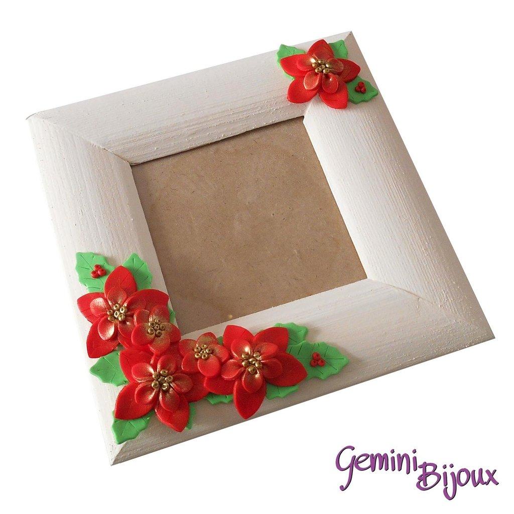 """Cornice in legno quadrata con decorazione """"Stelle di Natale"""""""