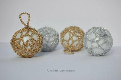Decorazioni Natale: set 5 palline di Natale in oro o argento