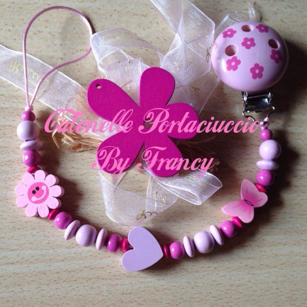 "CATENELLA PORTACIUCCIO ""FLOREALE BABY ROSA/PINK"""