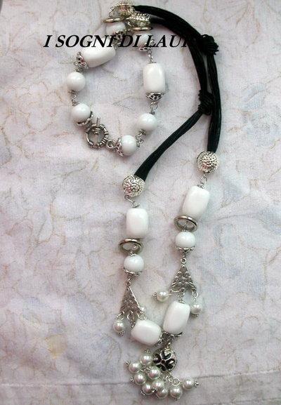 Collana  agata e perline