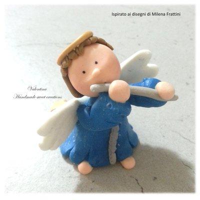 Segnaposto angelo con flauto Buon Natale