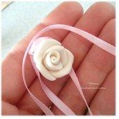 Ciondolo charm rosa Bomboniera chiudisacchetto battesimo comunione matrimonio