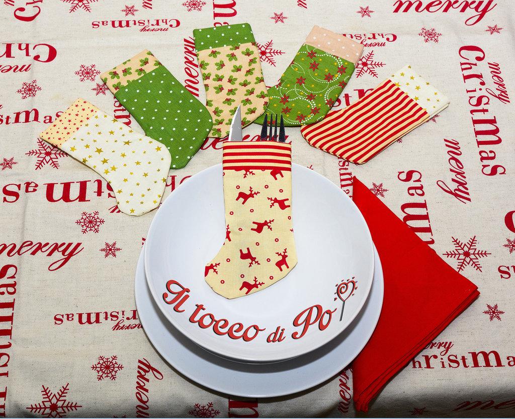Set calzini porta posate natalizio set da 6