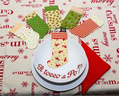 Set calzini porta posate natalizio set da 8