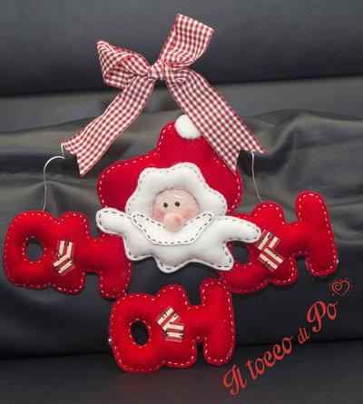 Babbo natale decorazione fuori porta oh oh oh feste for Decorazione natalizia per porta