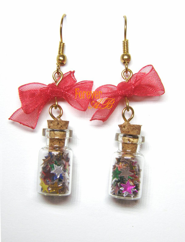 Orecchini Boccettine con stelle colorate e fiocco rosso idea regalo
