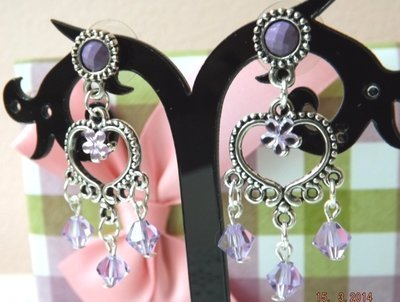Orecchini  con strass e cristalli lilla  idea regalo  per lei