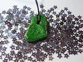 Collana pietra verde brillantinata