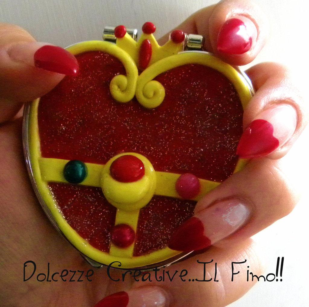 Specchietto Cristallo Del Cuore Sailor Moon diamante kawaii specchio idea regalo gadget GLITTER