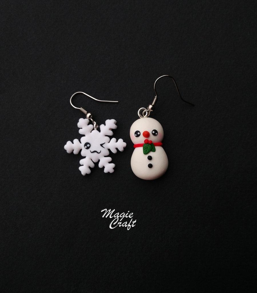 Orecchini in Fimo Pupazzo e fiocco di neve