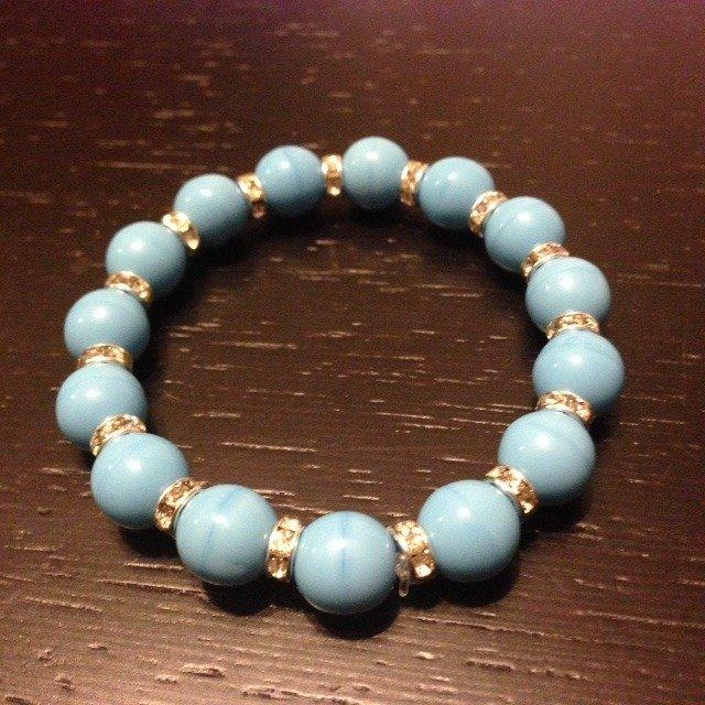 Bracciale Perle azzurre e strass
