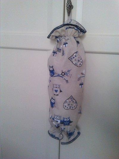 Sacco porta buste gufi blu