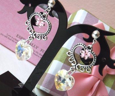 Orecchini collezione 2014 con cristallo a cuore,strass a fiore su base a cuore idea regalo Natale per lei