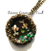 Collana laghetto con pesci - Fiore di loto  Carpe Koi Stagno acqua piante pietre