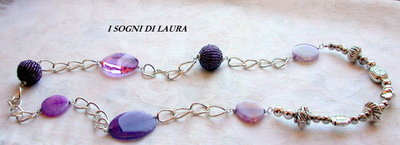 Collana  agata viola e cristalli