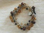 Bracciale in metallo e perline in vetro sfaccettato, nere gialle marroni chiusura magnetica