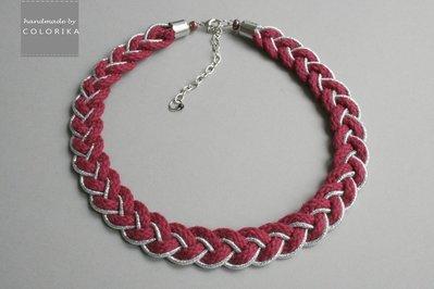 Tessile collana , Colori: bordeaux, silver