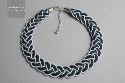 Tessile collana , Colori: nero, grigio, argento