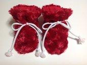 Babbucce scarpine pile rosso - Bambini 0-6 mesi