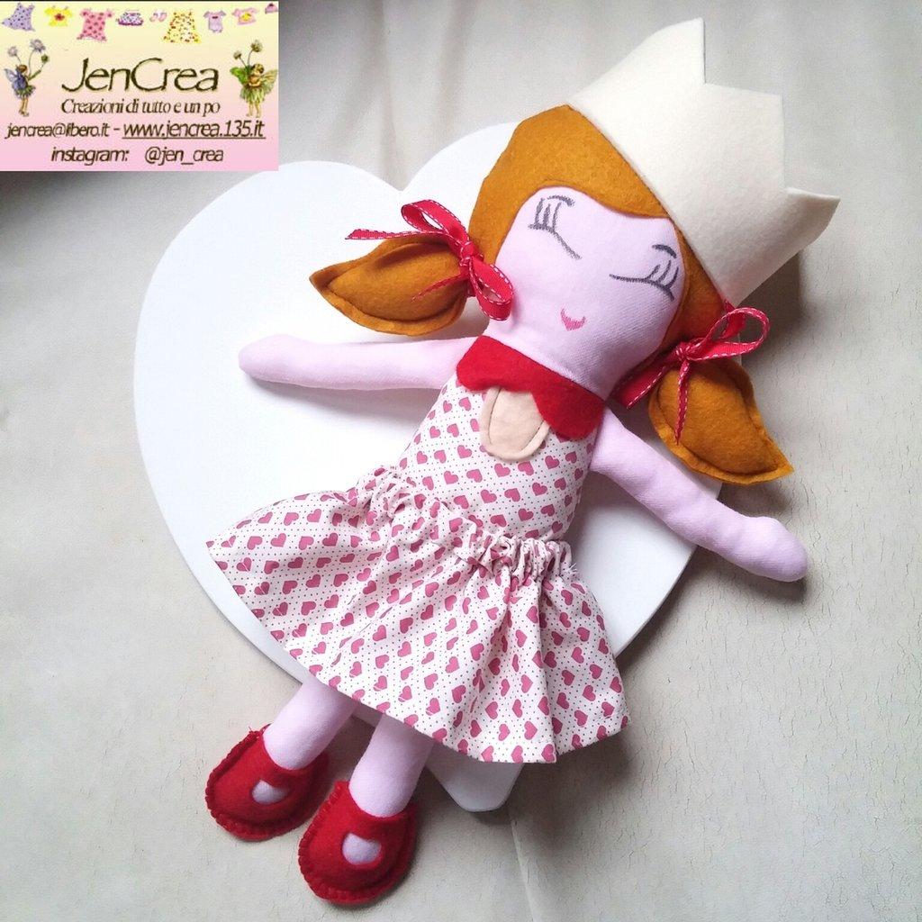 1 bambola di pezza artigianale cuoricini rossi