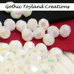 001 - 20 Acrylic Opaque Faceted Round Bead - White
